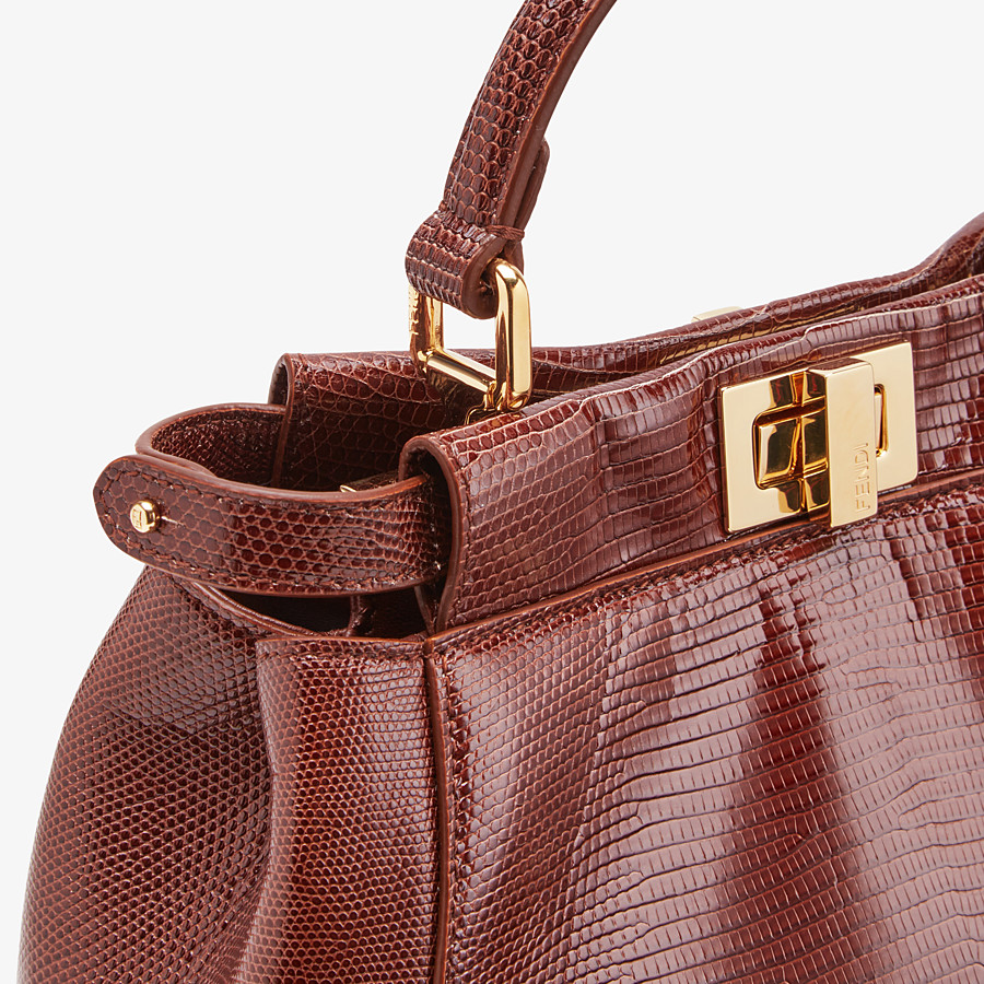 FENDI PEEKABOO ICONIC MINI - Brown lizard bag - view 5 detail