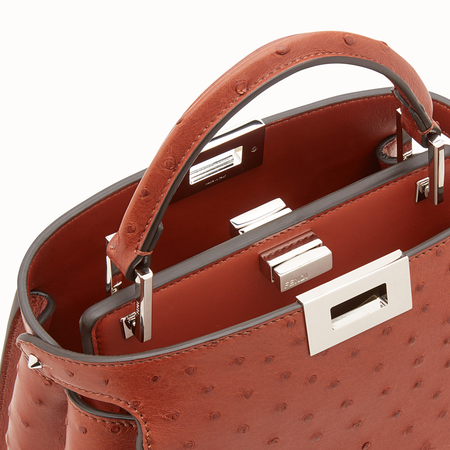 FENDI PEEKABOO ICONIC ESSENTIALLY - Red ostrich bag - view 5 detail