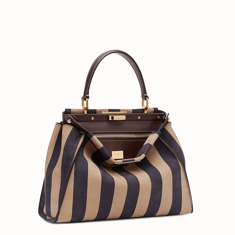 FENDI PEEKABOO ICONIC MEDIUM - Brown nubuck leather bag - view 3 detail