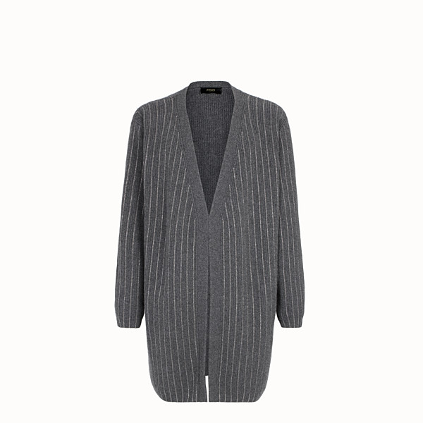 FENDI CARDIGAN - Grey cashmere cardigan - view 1 small thumbnail