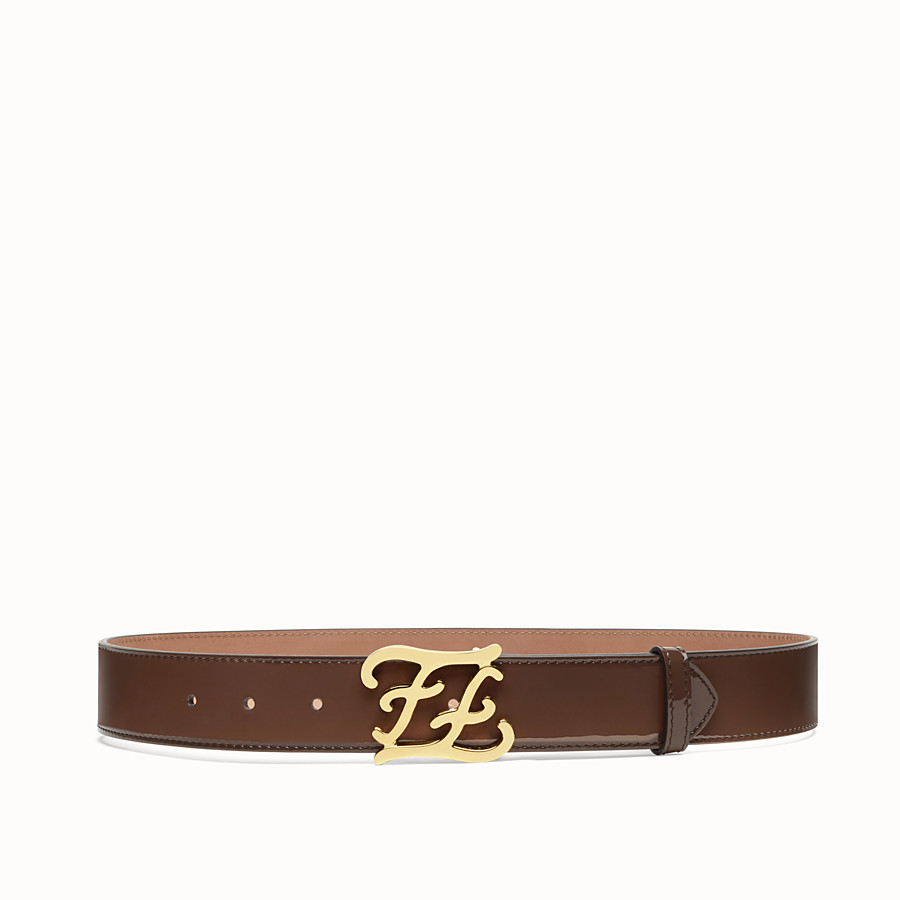 FENDI BELT - Brown patent leather belt - view 1 detail