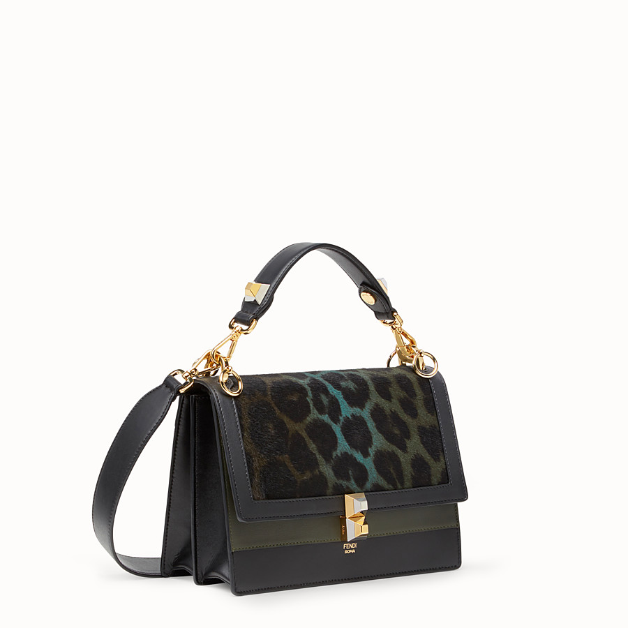 FENDI KAN I - Black leather and pony skin handbag - view 2 detail