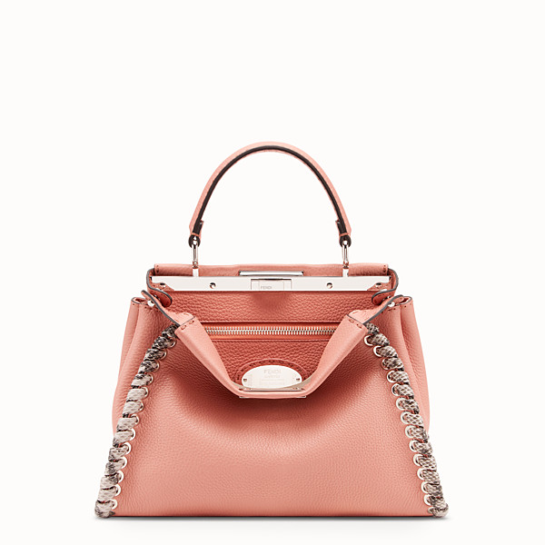 FENDI PEEKABOO REGULAR - Pink leather bag with exotic details - view 1 small thumbnail