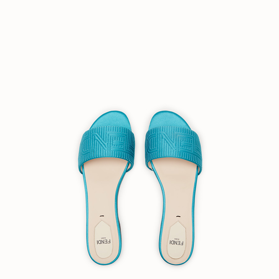FENDI SABOTS - Turquoise satin slides - view 4 detail