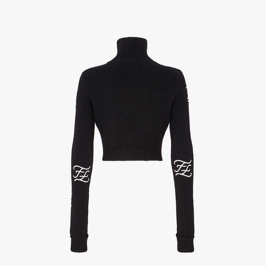 FENDI SWEATER - Black wool and cashmere sweater - view 2 detail