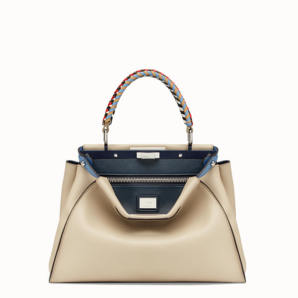 FENDI PEEKABOO REGULAR - Beige leather bag - view 1 small thumbnail