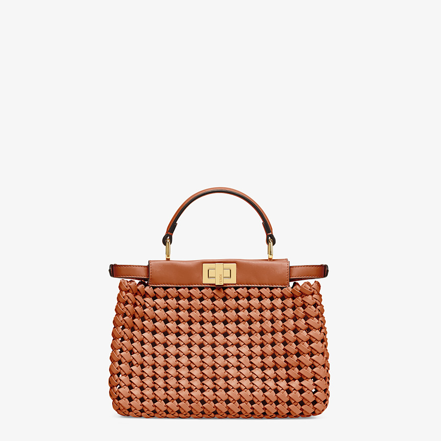 FENDI PEEKABOO ICONIC MINI - Brown leather interlace bag - view 4 detail