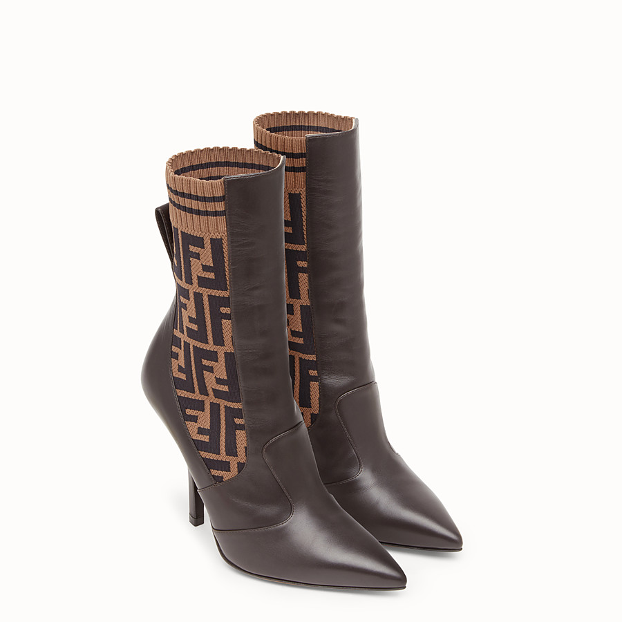 FENDI BOOTS - Brown leather booties - view 4 detail