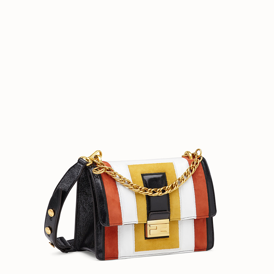 FENDI KAN U - Multicolour leather and suede bag - view 3 detail