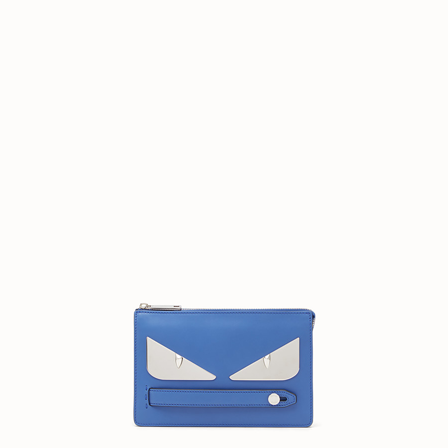 FENDI BAG BUGS CLUTCH - Blue leather pouch - view 1 detail