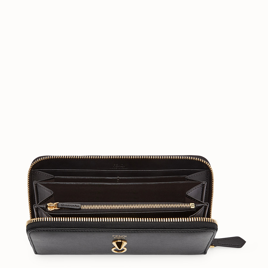 FENDI ZIP-AROUND - Black leather zip-around - view 4 detail