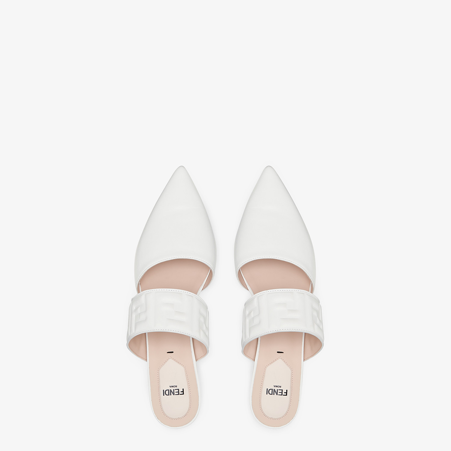 FENDI SABOTS - White leather mules - view 4 detail