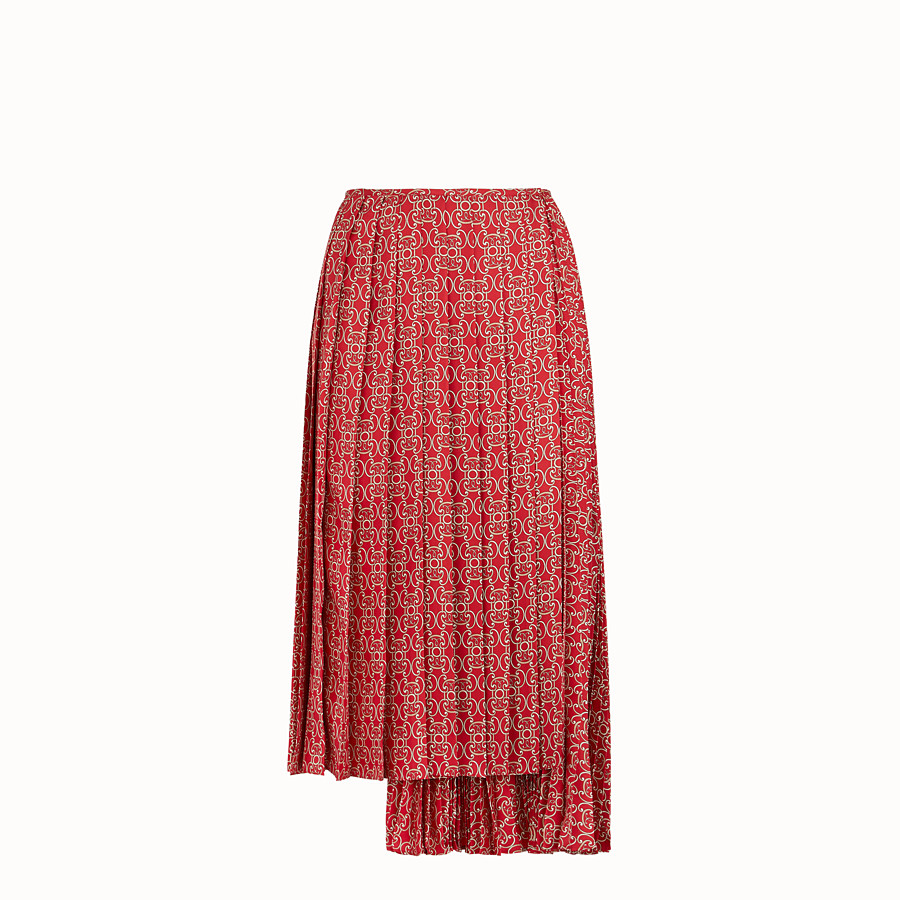 FENDI SKIRT - Red twill skirt - view 1 detail