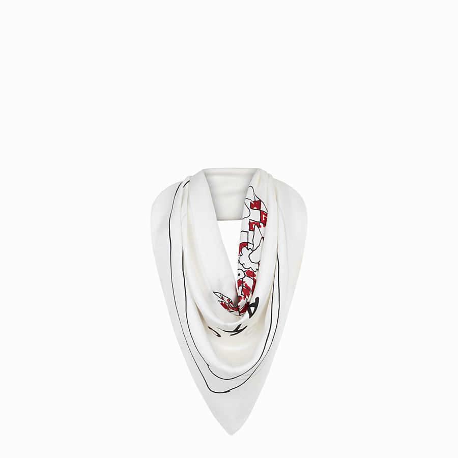 FENDI KEFFIEH - Foulard en soie blanche - view 1 detail