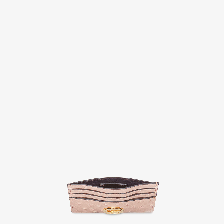 FENDI CARD HOLDER - Pink ostrich leather flat card holder - view 3 detail