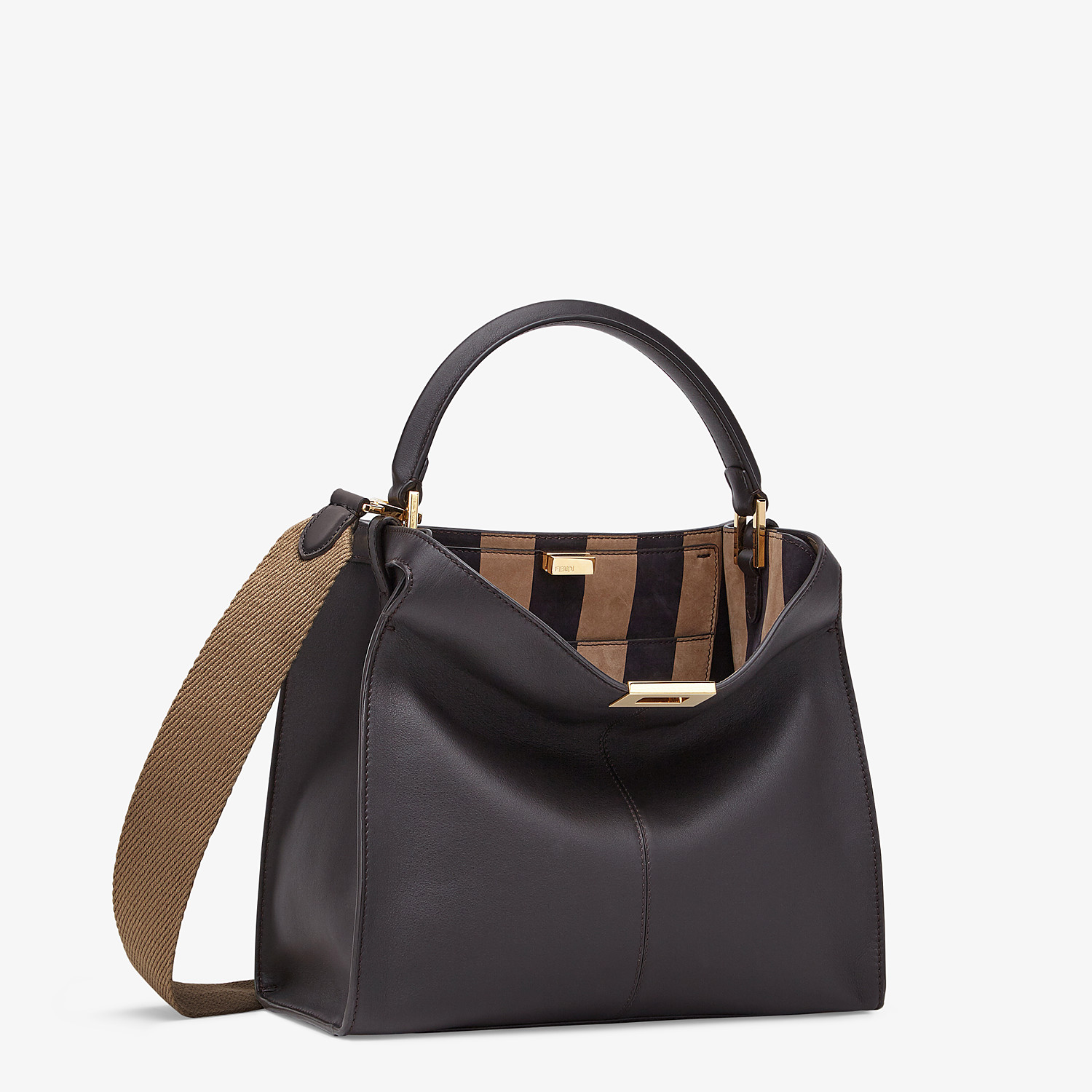 FENDI PEEKABOO X-LITE MEDIUM - Borsa in pelle marrone - vista 4 dettaglio