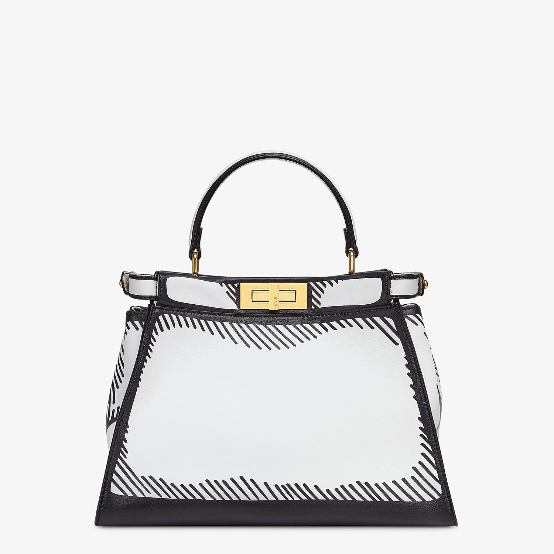 FENDI PEEKABOO ICONIC MEDIUM - White leather FF print bag - view 4 detail