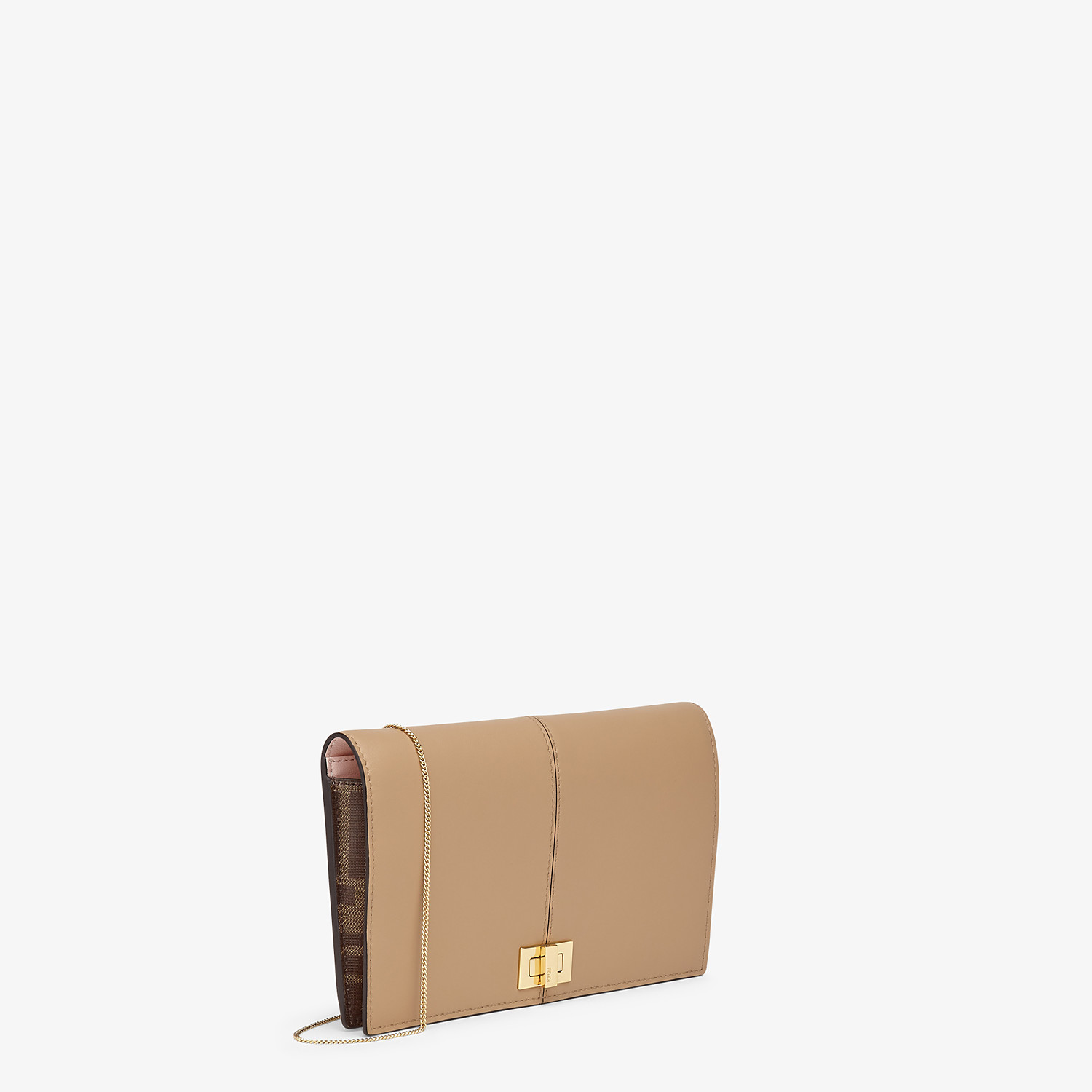 FENDI WALLET ON CHAIN - Brown leather minibag - view 2 detail