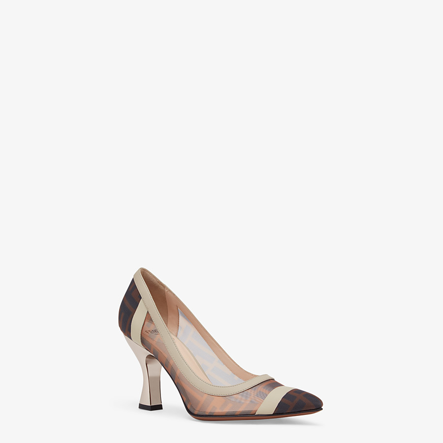 FENDI COURT SHOES - Court shoes in mesh and brown leather - view 2 detail