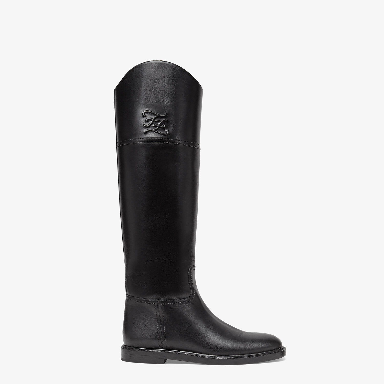 FENDI KARLIGRAPHY - Black leather boots - view 1 detail