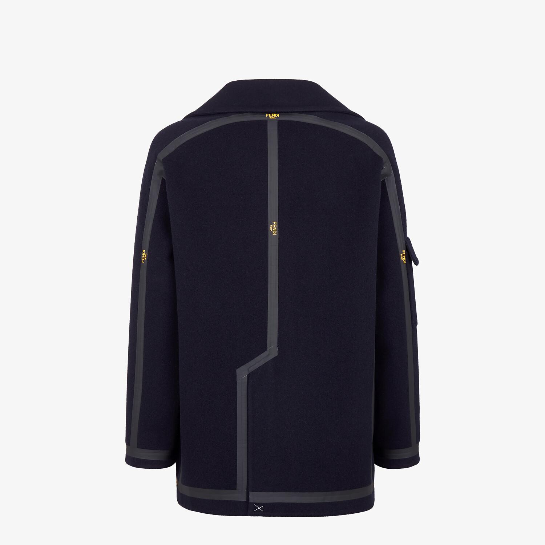 FENDI PEACOAT - Blue cashmere coat - view 2 detail