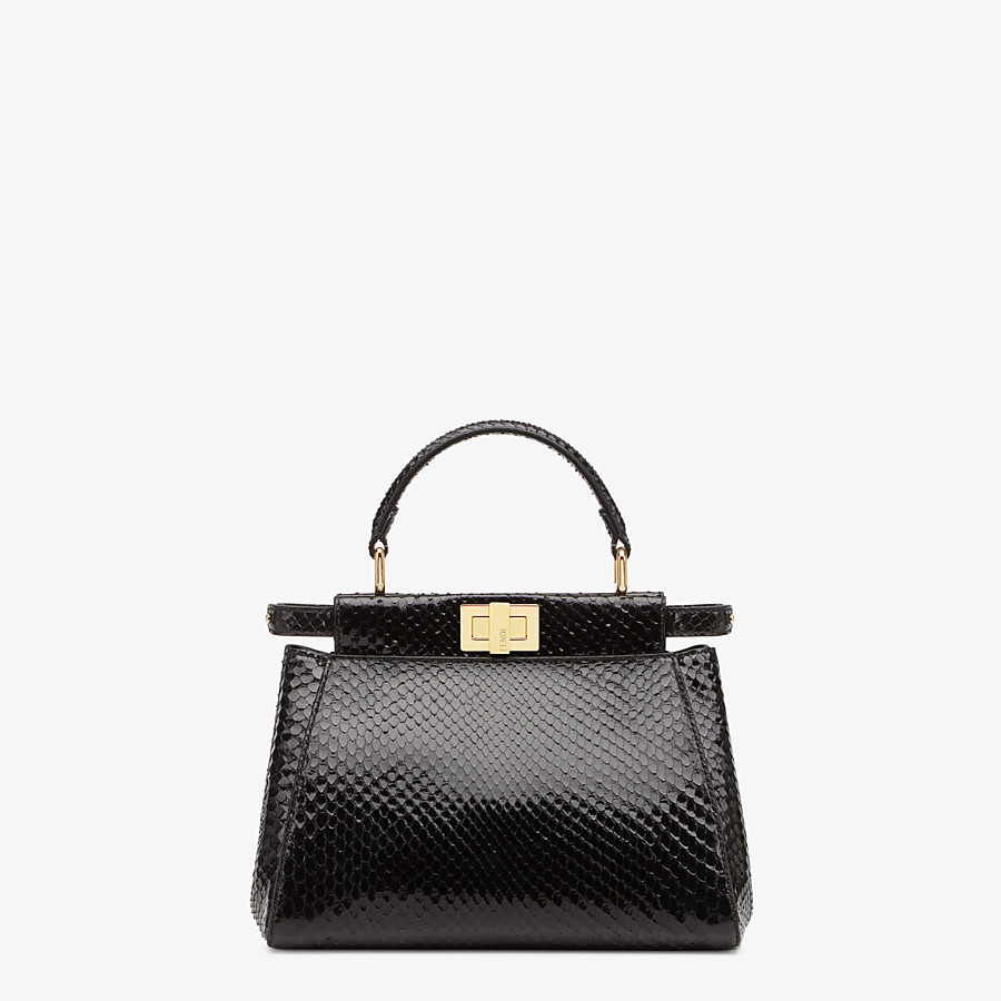 FENDI PEEKABOO ICONIC MINI - Black python handbag. - view 1 detail