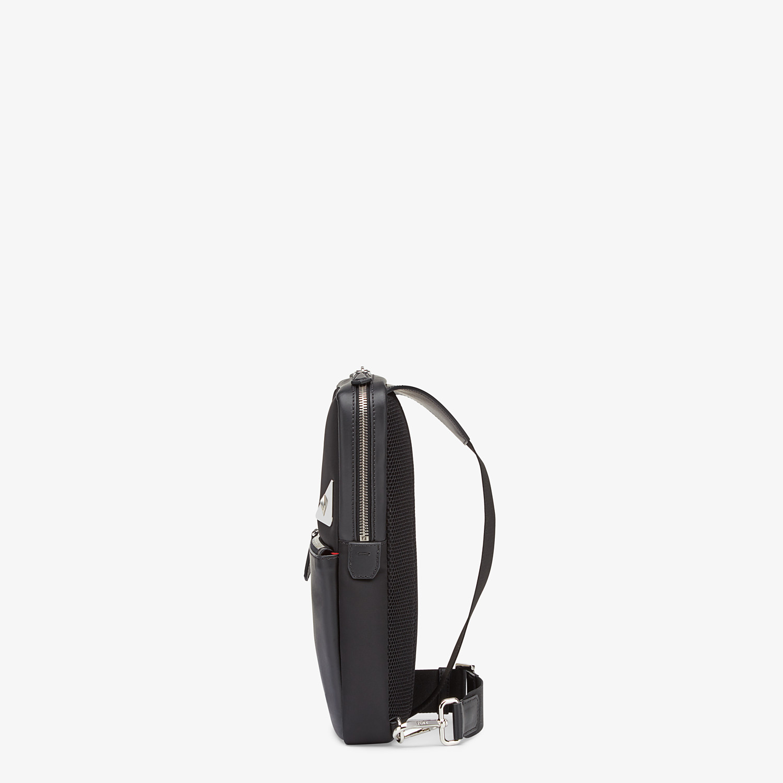 FENDI BELT BAG - Fabric and black leather satchel - view 2 detail