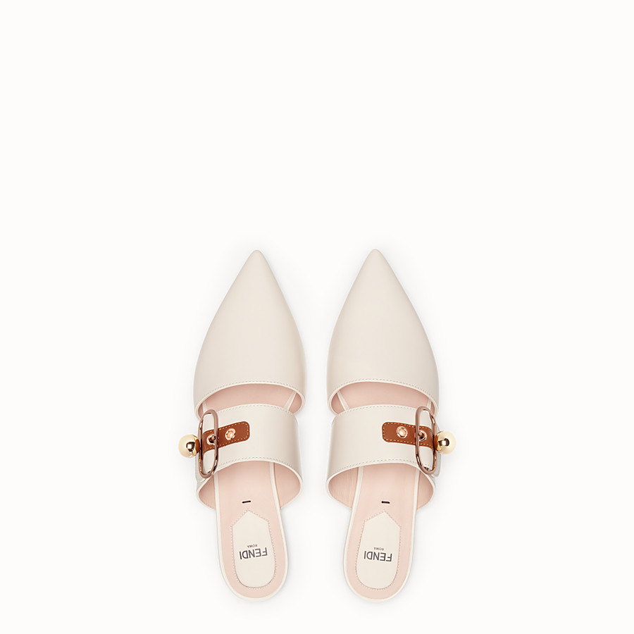 FENDI SABOTS - White leather slingbacks - view 4 detail
