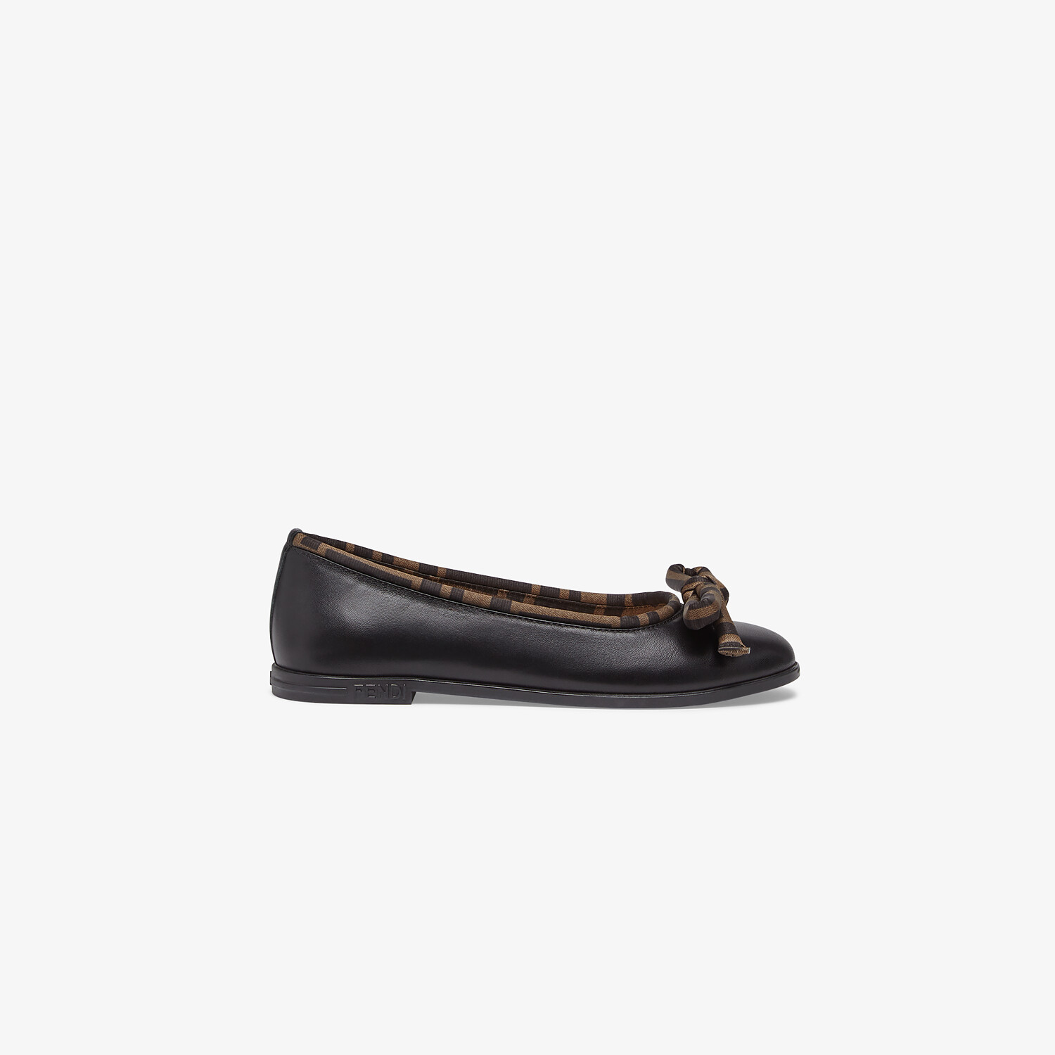 FENDI JUNIOR BALLERINAS - Black leather ballerinas with a touch of FF logo - view 1 detail