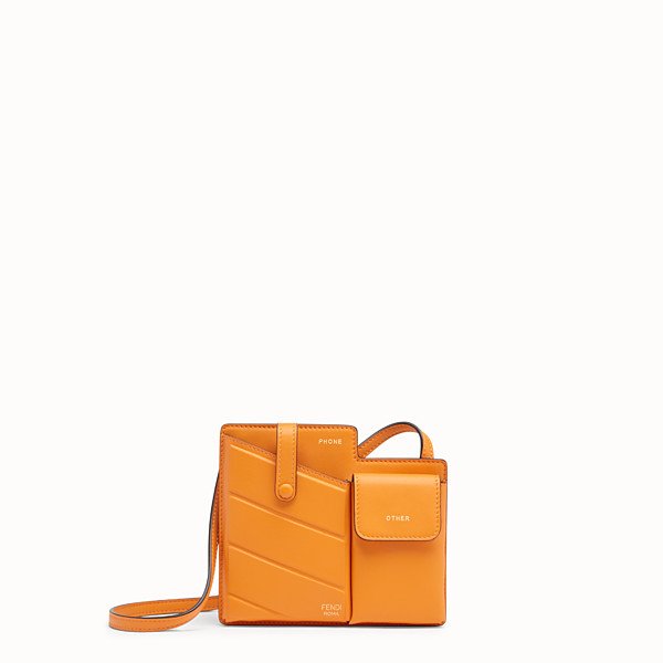 FENDI TWO-POCKET MINI BAG - Orange leather messenger - view 1 small thumbnail