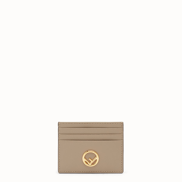 FENDI CARD HOLDER - Flat beige leather card holder - view 1 small thumbnail