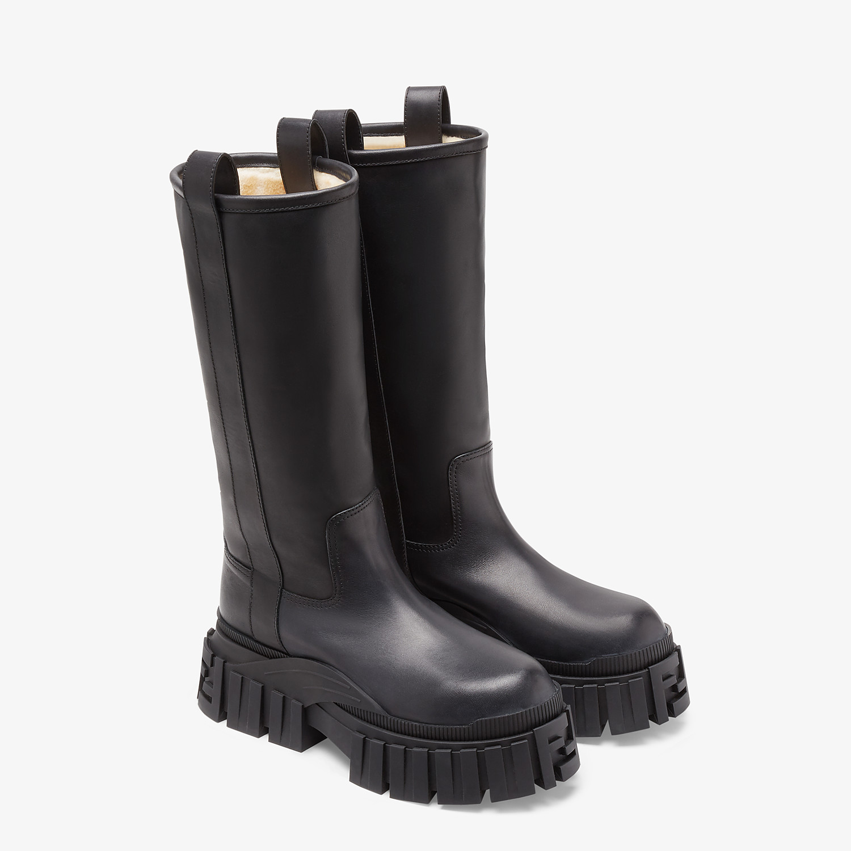 FENDI BOOTS - Black leather boots - view 4 detail
