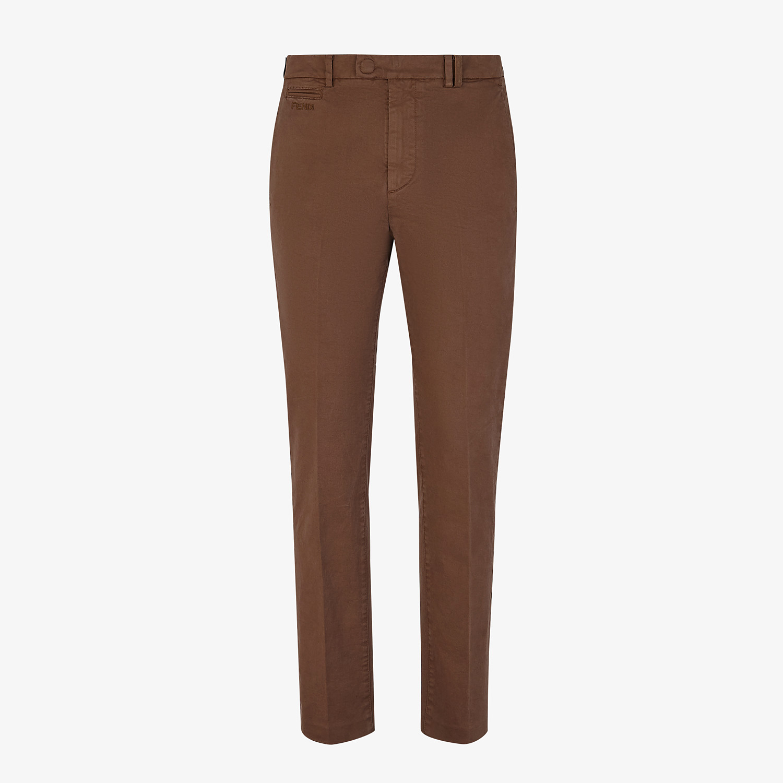 FENDI PANTS - Brown cotton pants - view 1 detail