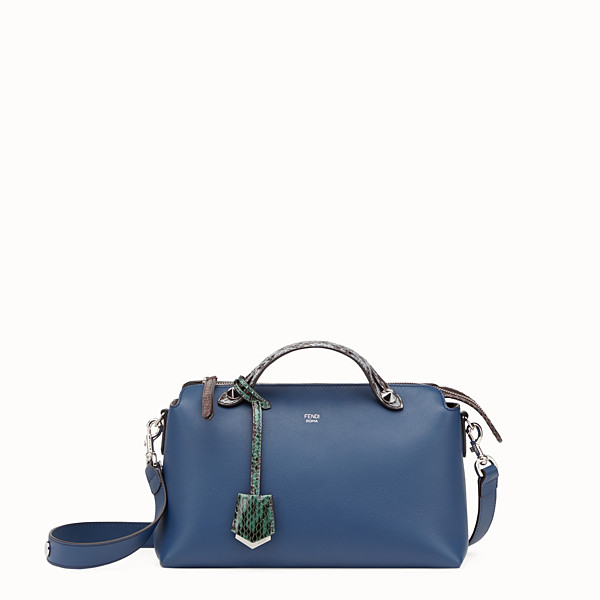 FENDI BY THE WAY REGULAR - Small blue leather Boston bag - view 1 small thumbnail