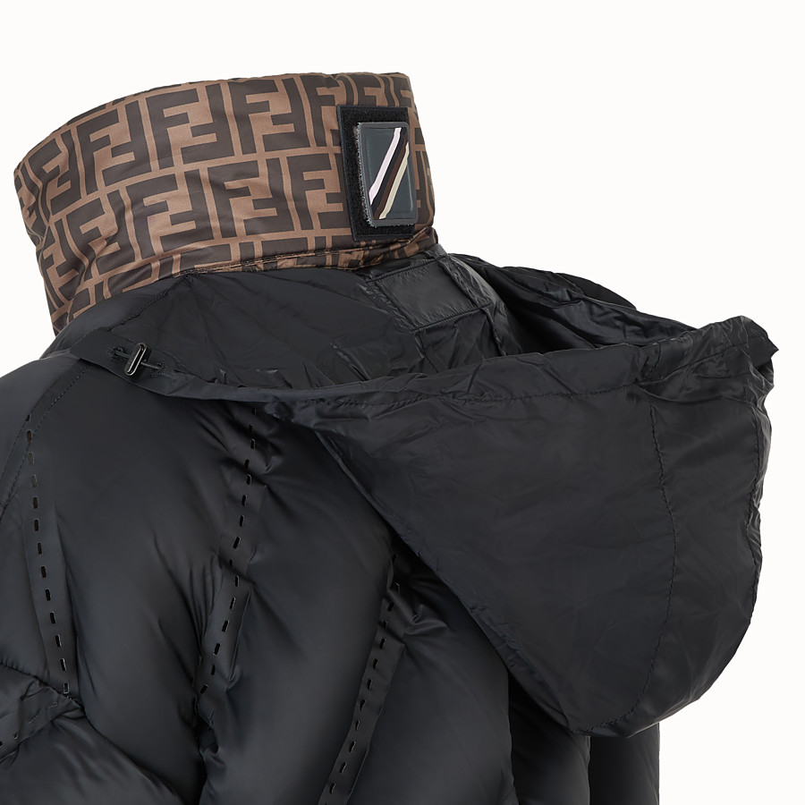 FENDI DOWN JACKET - Black nylon down jacket - view 3 detail