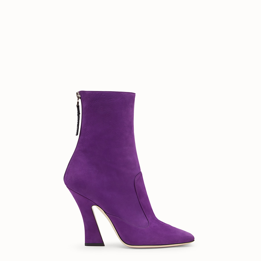 FENDI BOOTS - Purple nubuck booties - view 1 detail