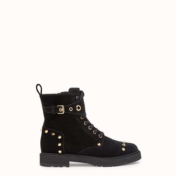 FENDI ANKLE BOOTS - Black velvet biker boots - view 1 small thumbnail