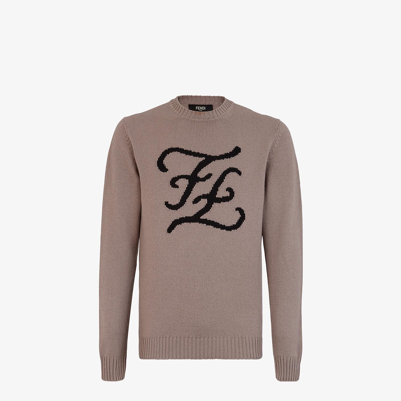 FENDI PULLOVER - Beige cashmere jumper - view 1 detail