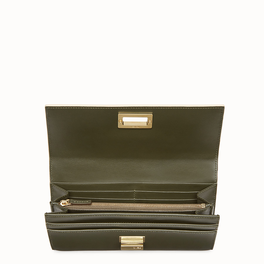 FENDI PEEKABOO CONTINENTAL WALLET - Green leather continental wallet - view 4 detail