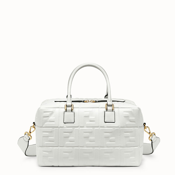 FENDI SMALL BOSTON - White leather Boston bag - view 1 small thumbnail