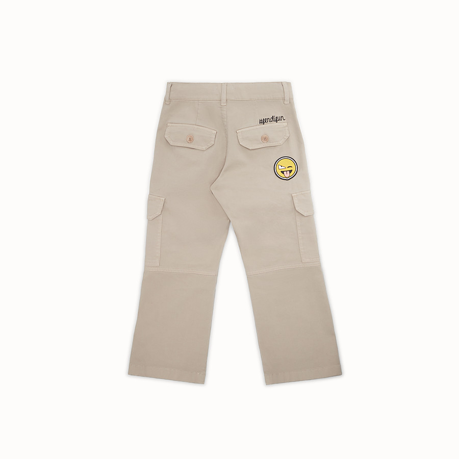 FENDI TROUSERS - Gabardine trousers with patch - view 2 detail