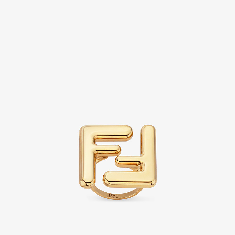 FENDI MAXI LOGO RING - Gold-colour ring - view 1 detail