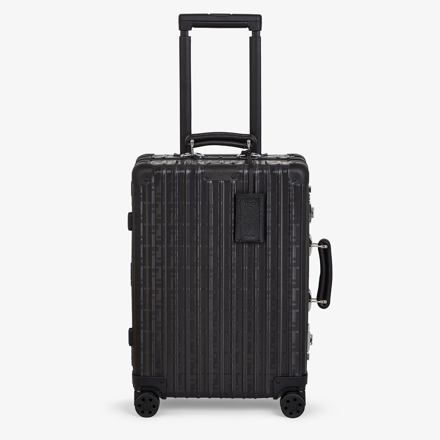 FENDI CABIN SIZE TROLLEY - Black aluminum trolley case with leather details - view 1 detail