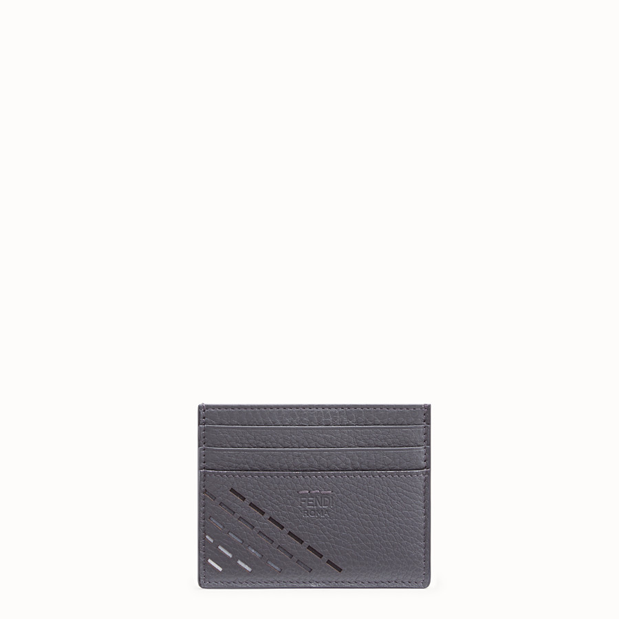 FENDI CARD HOLDER - Grey leather card holder - view 1 detail