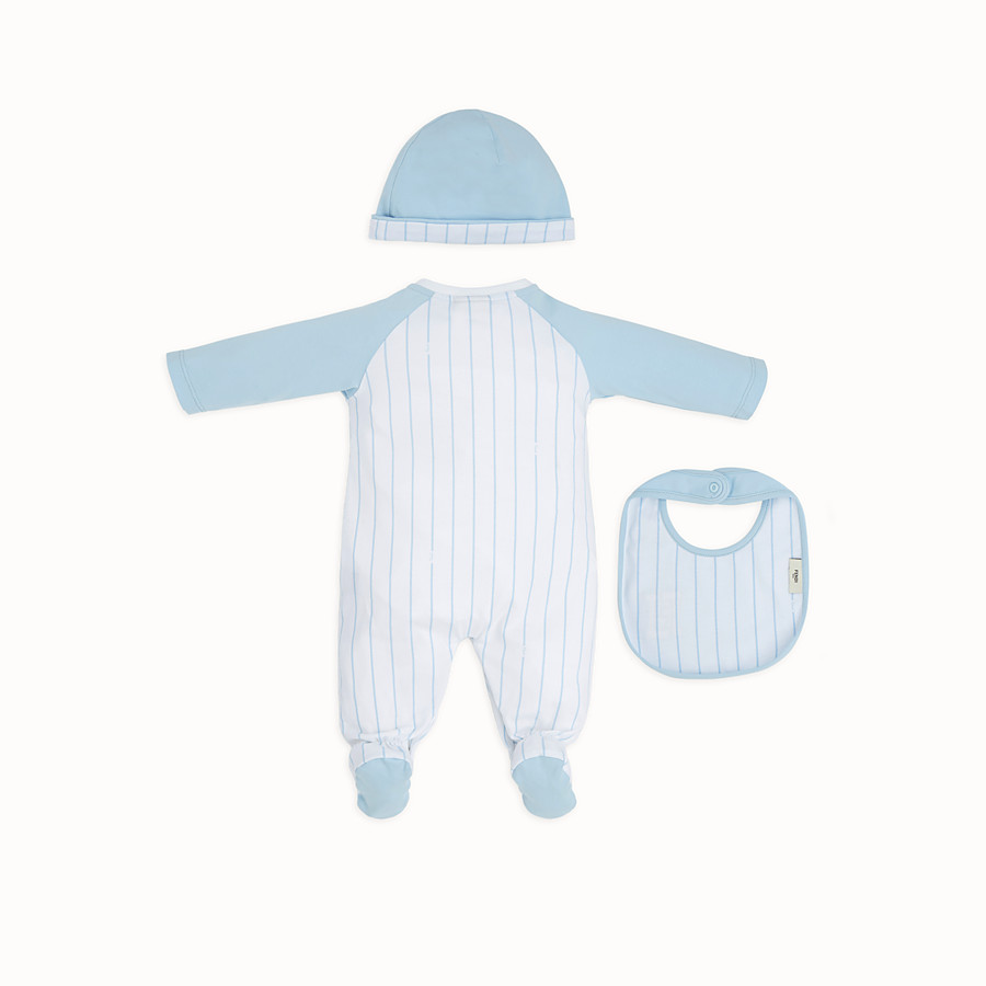 FENDI BABY BOY'S NURSERY KIT - White and sky blue jersey kit - view 2 detail