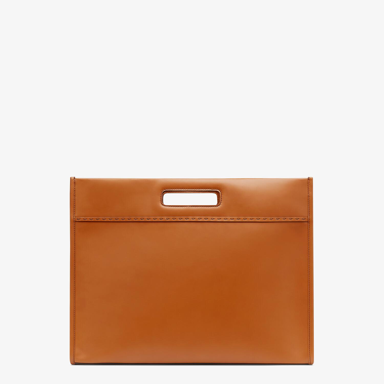 FENDI SHOPPING BAG - Brown leather shopper - view 4 detail