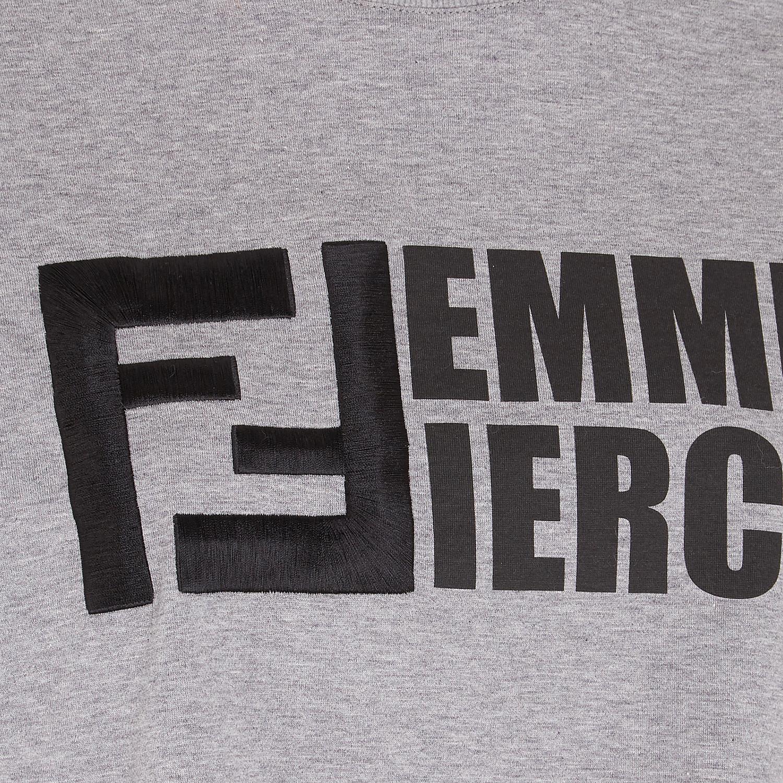 FENDI T-SHIRT - Gray cotton T-shirt - view 3 detail