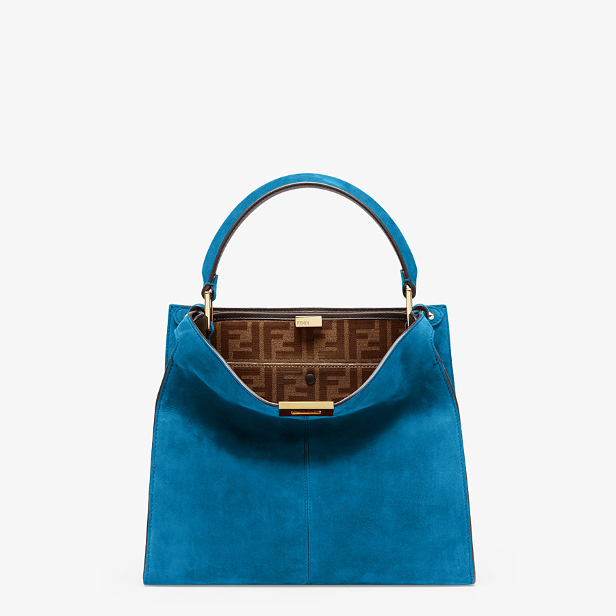 FENDI PEEKABOO X-LITE MEDIUM - Blue suede bag - view 2 detail