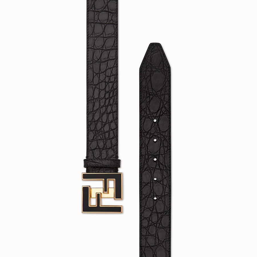 FENDI BELT - Black caiman belt - view 2 detail