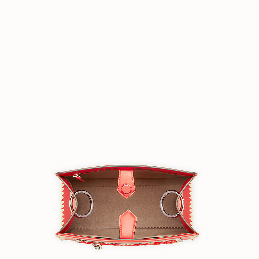 FENDI RUNAWAY SMALL - Red leather bag with exotic details - view 4 detail